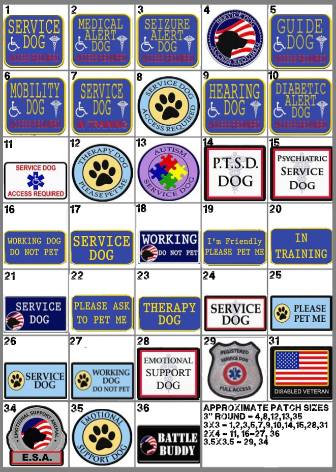 Funny Service Dog Patches